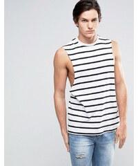 ASOS - T-shirt sans manches à rayures avec emmanchures larges - Blanc