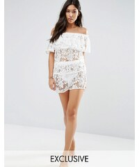 Wolf & Whistle - Short de plage en dentelle, ensemble - Blanc