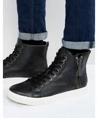 Calvin Klein - John - Baskets zippées en cuir grainé - Noir