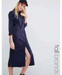 Daisy Street Tall - Robe chemise mi-longue avec broderie XO - Bleu marine