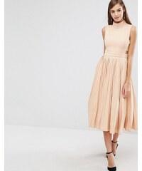 The 8th Sign - Kleid mit hohem Kragen und Faltenrock - Rosa