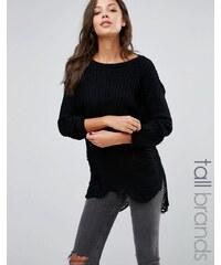 Missguided - Tall - Pullover mit Abnutzungen und Schulteraussparungen - Schwarz
