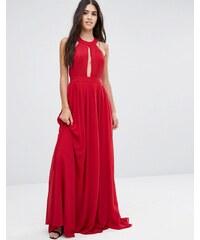 Pixie & Diamond - Robe longue avec dos ouvert et devant drapé - Rouge