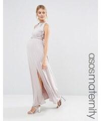 Little Mistress Maternity - Robe longue à encolure volantée et découpe dans le dos - Beige