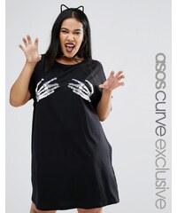 ASOS CURVE - HALLOWEEN - T-Shirt-Kleid mit Caviar Cheeky Skeletthänden - Schwarz