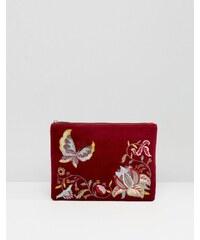 Glamorous - Clutch aus Samt mit Reißverschluss und Stickerei in Weinrot - Mehrfarbig