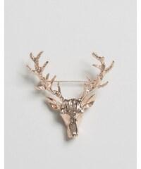 DesignB London - Épingle de col cerf - Or rose - Doré