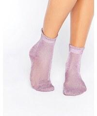 Monki - Chaussettes transparentes à paillettes et volants - Violet