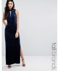 Vero Moda Tall - Robe longue en velours avec dos en dentelle - Bleu marine