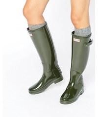 Hunter - Bottes de pluie authentiques et raffinées - Olive foncé - Vert