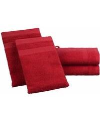 Dyckhoff Handtuch Set Planet mit schlichter Bordüre rot 4tlg.-Set (siehe Artikeltext)