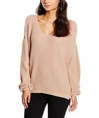Boohoo Damen Pullover Cold Shoulder V Neck Oversized