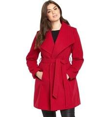 CLOSET Stylový červený kabát se zavinovacím efektem