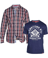 Lesara 2-teiliges D555 Set T-Shirt & Karohemd - S