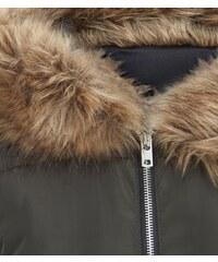 New Look Teenager – Khakifarbener Longline-Mantel mit Fake Fur und Kapuze