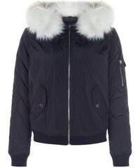 New Look Marineblaue Jacke mit Fake-Fur-Besatz an der Kapuze