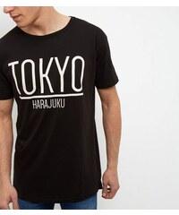 """New Look Schwarzes, lang geschnittenes T-Shirt mit """"Tokyo""""-Druck"""