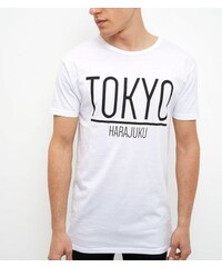 New Look Weißes, lang geschnittenes T-Shirt mit Tokyo-Druck