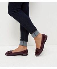 New Look Burgunderrote Lack-Loafers mit Metallverzierung