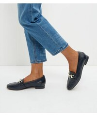 New Look Schwarze Lederslipper mit Metallbesatz