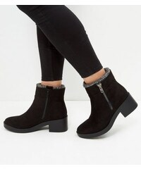 New Look Wide Fit – Schwarze Chelsea-Stiefel mit Strickbund