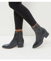 New Look Schwarze, spitze Lederstiefeletten aus Leder