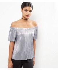 New Look Grauer, plissierter Lamé-Body mit Bardot-Ausschnitt