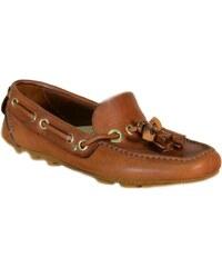 Voile Blanche Chaussures Mocassins pour Homme Marron Cuir NAVY