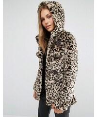QED London - Manteau léopard en fausse fourrure avec pompons - Marron