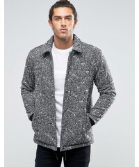 ASOS - Sportliche Jacke aus Wollmischung in Grau meliert - Schwarz