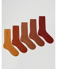 ASOS - Lot de 5 paires de chaussettes en maille gaufrée - Rouille - Orange