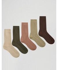 ASOS - Lot de 5 paires de chaussettes en maille gaufrée - Kaki - Vert