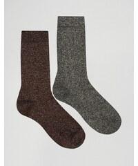 ASOS - Lot de 2 paires de chaussettes élégantes à paillettes - Doré