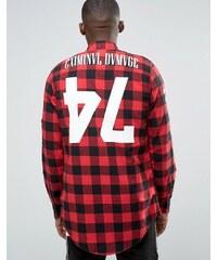 Criminal Damage - Chemise longue à carreaux avec imprimé dans le dos - Rouge