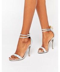 Public Desire - Starlin - Silbrige Sandalen mit Absatz - Silber