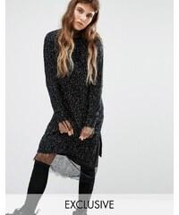 Seint - Robe pull confortable effet moucheté - Noir