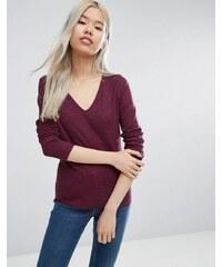 ASOS - T-shirt ajusté à col V en tissu flammé - Violet