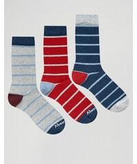 Abercrombie & Fitch - Lot de 3 paires de chaussettes à rayures - Multi