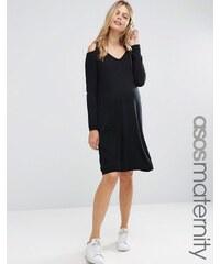 ASOS Maternity - Robe en maille de cachemire mélangé avec épaules torsadées et dénudées - Noir