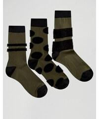 ASOS - Lot de 3 paires de chaussettes avec empiècements duveteux - Vert