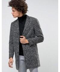 Selected Homme - Wollmantel mit geflecktem Muster - Grau