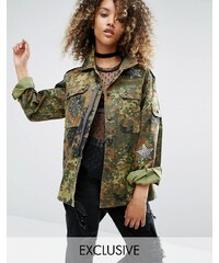 Milk It Vintage - Military-Jacke mit Paillettenaufnähern - Grün