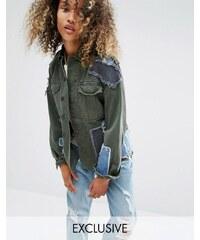 Milk It - Vintage-Military-Jacke mit Jeans-Aufnähern - Grün