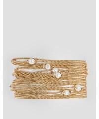 ASOS - Bracelet multi-rangs à fines chaînes et fausses perles - Doré