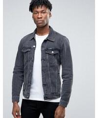 Pull&Bear - Veste en jean - Noir délavé - Gris