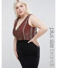 Lovedrobe Luxe Lovedrobe - Luxuriöser, verzierter Body mit tiefem Ausschnitt - Braun