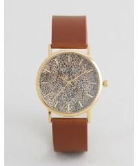 Reclaimed Vintage - Montre léopard à bracelet en cuir - Marron - Marron