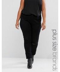 Elvi Plus - Jeans mit Zierrissen - Schwarz