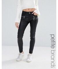 Vero Moda Petite - Jean skinny enduit avec fermetures éclair - Noir
