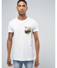 Pull&Bear - T-shirt avec poche camouflage - Blanc - Blanc